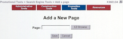 Add a New Page for Search Engine Submission
